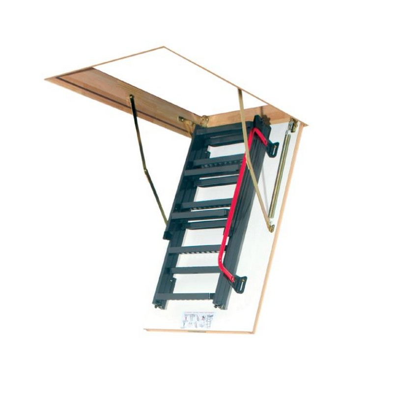 3 Section Steel Folding Loft Ladder White Hatch