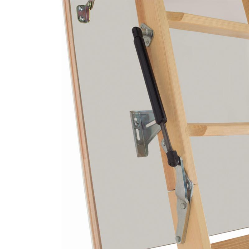 3 section timber folding loft ladder piston assisted. Black Bedroom Furniture Sets. Home Design Ideas