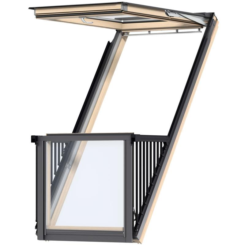 Velux cabrio balcony roof window gdl for Velux glass