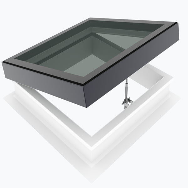 Loft Shop Manual Opening Flat Glass with 150mm PVC Em-Glaze Vertical Upstand